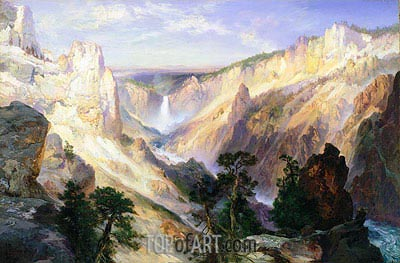 Grand Canyon of the Yellowstone, Wyoming, 1906 | Thomas Moran| Painting Reproduction