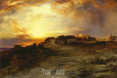 Pueblo at Sunset (Laguna), 1901 | Thomas Moran | Painting Reproduction