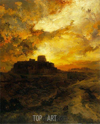 Sunset, Pueblo del Wape, Arizona, 1880 | Thomas Moran | Gemälde Reproduktion