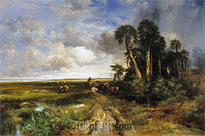 Bringing Home the Cattle - Coast of Florida, 1879 | Thomas Moran | Gemälde Reproduktion