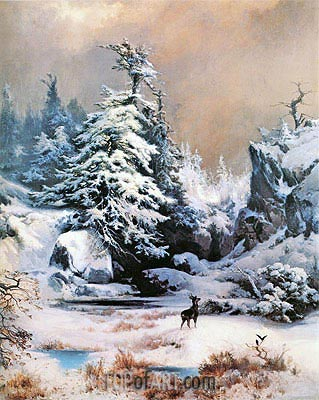 Winter in the Rockies, 1867 | Thomas Moran| Painting Reproduction