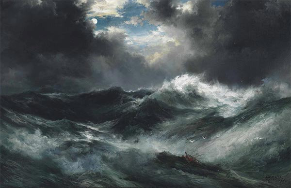 Moonlit Shipwreck At Sea,  | Thomas Moran | Painting Reproduction