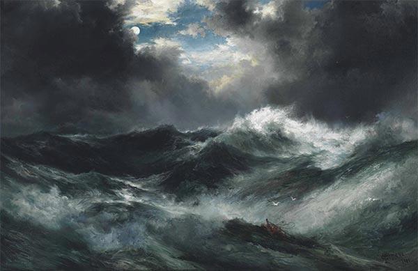 Mondschein Schiffbruch am Meer, 1901 | Thomas Moran | Gemälde Reproduktion