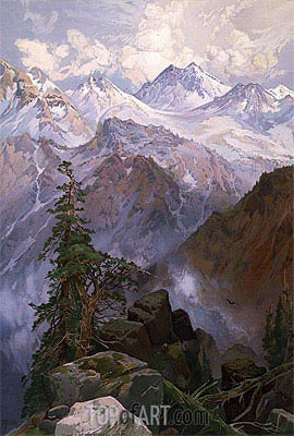 Summit of the Sierras, Nevada, 1875 | Thomas Moran| Painting Reproduction