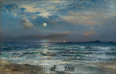 Moonlight Seascape, 1892 | Thomas Moran | Painting Reproduction