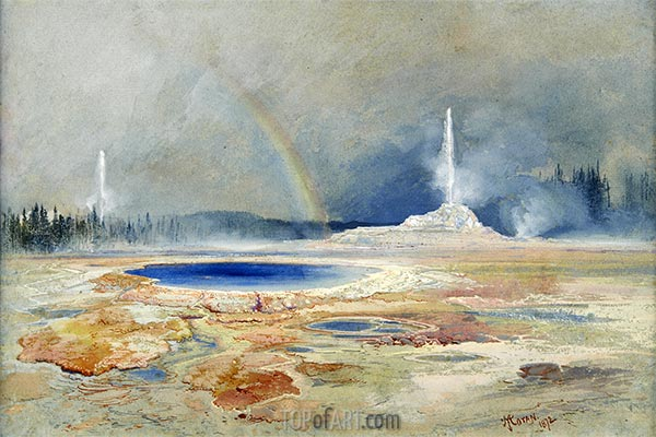 The Castle Geyser, Fire Hole Basin, a.1873 | Thomas Moran | Painting Reproduction