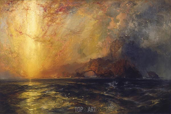 Fiercely the Red Sun Descending, undated | Thomas Moran | Painting Reproduction