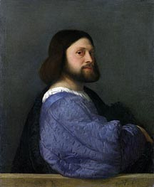 A Man with a Quilted Sleeve (Ariosto), c.1510/12 by Titian | Painting Reproduction