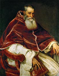 Pope Paul III (Portrait of Alessandro Farnese), 1543 by Titian | Painting Reproduction