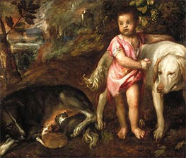 Boy with Dogs in a Landscape, c.1565 by Titian | Painting Reproduction