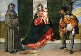 The Virgin and Child between Saint Anthony of Padua and Saint Roque, c.1510 by Titian | Painting Reproduction