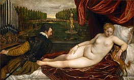 Venus with the Organist, c.1550 by Titian | Painting Reproduction