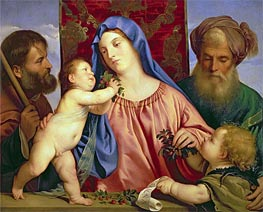 Madonna of the Cherries with Joseph, St. Zacharias and John the Baptist, c.1516/18 by Titian | Painting Reproduction