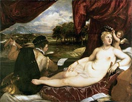 Venus and Cupid with a Lute Player, c.1555/65 by Titian | Painting Reproduction
