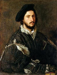 Portrait of Vincenzo Mosti, c.1520/25 by Titian | Painting Reproduction