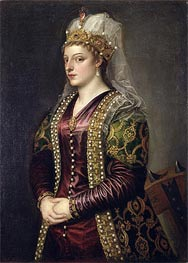 Portrait of Caterina Cornaro dressed as St. Catherine of Alexandria, c.1542 by Titian   Painting Reproduction