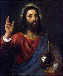 Christ Blessing (Christ Saviour), c.1570 by Titian   Painting Reproduction
