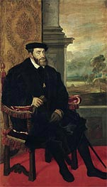 Seated Portrait of Emperor Carlos V, 1548 by Titian | Painting Reproduction