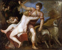 Venus and Adonis, Undated by Titian | Painting Reproduction