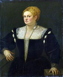 Portrait of a Woman (perhaps Pellegrina Morosini Capello), c.1558/62 by Titian | Painting Reproduction