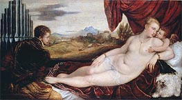Venus with the Organ Player, c.1550 by Titian | Painting Reproduction