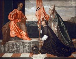 Jacopo Pesaro Presented to St. Peter by Pope Alexander VI, c.1513 by Titian | Painting Reproduction