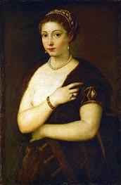 Young Woman with Fur, c.1535 von Titian | Gemälde-Reproduktion