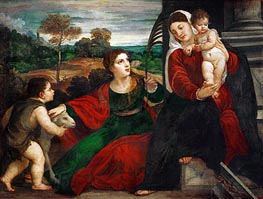 Madonna and Child with Saint Agnes and Saint John Baptist, undated by Titian | Painting Reproduction