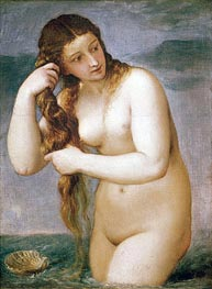 Venus Rising from the Sea (Venus Anadyomene), 1520 von Titian | Gemälde-Reproduktion