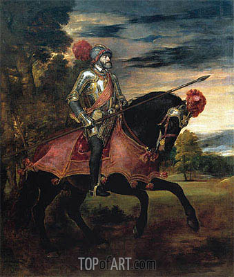 Emperor Carlos V on Horseback, 1548 | Titian| Painting Reproduction