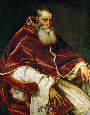 Pope Paul III (Portrait of Alessandro Farnese), 1543 | Titian| Gemälde Reproduktion