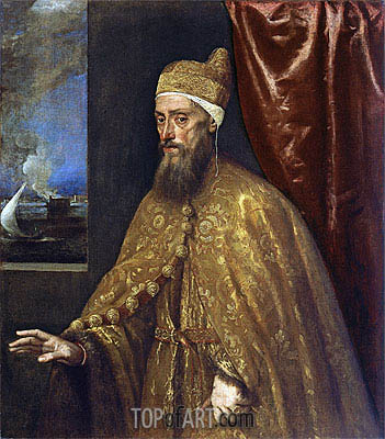 Portrait of Doge Francesco Venier, c.1554/155 | Titian | Painting Reproduction