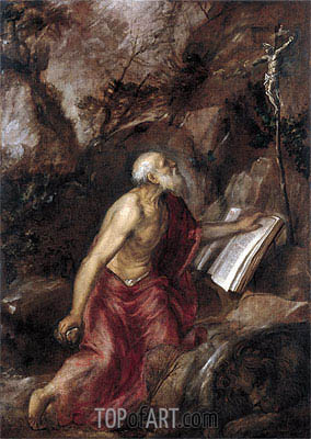 Saint Jerome in the Wilderness, c.1575 | Titian | Gemälde Reproduktion