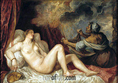 Danae receiving the Golden Rain, 1553 | Titian | Painting Reproduction