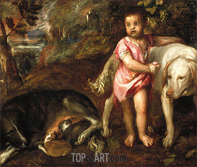 Boy with Dogs in a Landscape, c.1565 | Titian | Gemälde Reproduktion