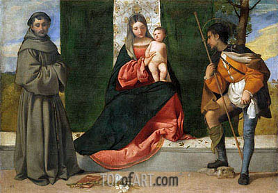The Virgin and Child between Saint Anthony of Padua and Saint Roque, c.1510 | Titian | Painting Reproduction