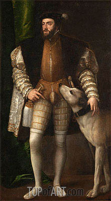 Emperor Carlos V with a Dog, 1533 | Titian | Painting Reproduction