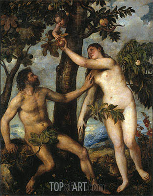 Adam and Eve, c.1550 | Titian| Painting Reproduction