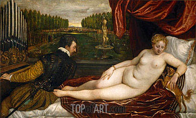 Venus with the Organist, c.1550 | Titian| Painting Reproduction