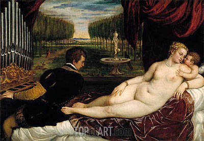 Venus with the Organist and Cupid, c.1555 | Titian | Painting Reproduction