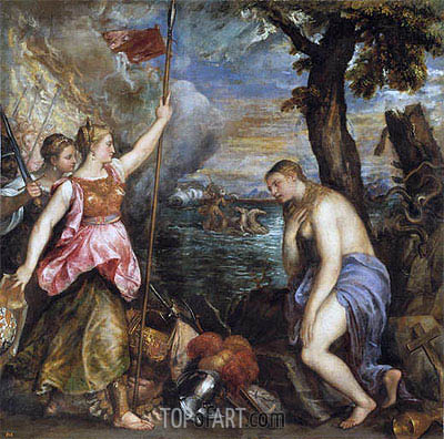 Religion Saved by Spain, c.1572/75 | Titian | Gemälde Reproduktion