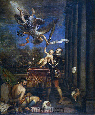 Following Victory at Lepanto, Felipe II offers Prince Fernando to Heaven, c.1572/75 | Titian| Painting Reproduction