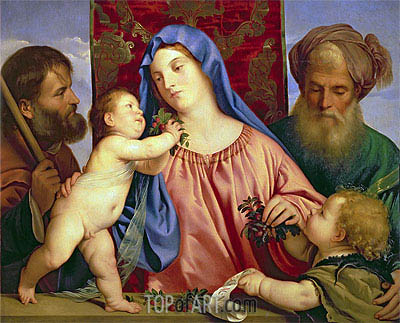 Madonna of the Cherries with Joseph, St. Zacharias and John the Baptist, c.1516/18 | Titian| Painting Reproduction
