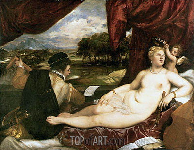 Venus and Cupid with a Lute Player, c.1555/65 | Titian | Painting Reproduction
