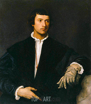 Titian | Porträt eines Mannes mit Handschuhen, c.1520