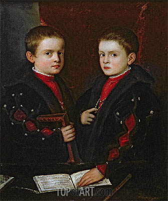 Portrait of Gerolamo Melchiorre and his Brother Francesco Santo da Pesaro, c.1544 | Titian| Gemälde Reproduktion