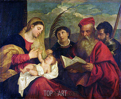 Madonna and Child with SS. Stephen, Jerome and Maurice,  | Titian | Gemälde Reproduktion