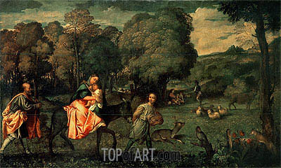 The Flight into Egypt, c.1508 | Titian | Painting Reproduction