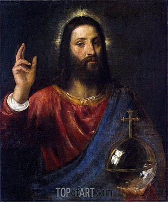 Christ Blessing (Christ Saviour), c.1570 | Titian | Painting Reproduction