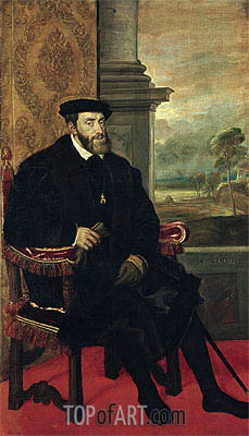 Seated Portrait of Emperor Carlos V, 1548 | Titian | Painting Reproduction